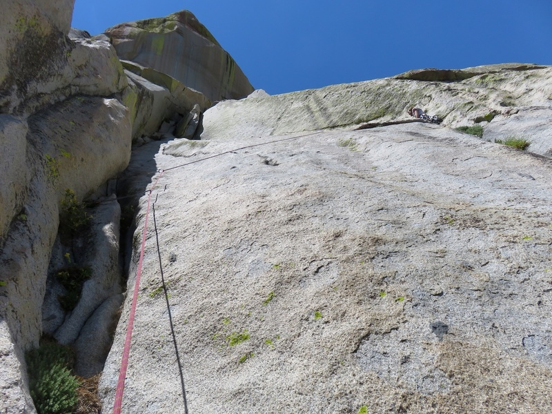 This is where the previous day we had exited off left to get to the South Face route, but to stay on the S Crack route, continue upwards. As you can see from where the rope goes in the photo, we ended up traversing across slab to a crack system off right. In my opinion, this crack system on the right was off route. I think the S Crack route continues up the corner on the left in the photo, but is unprotected for about 20 feet.