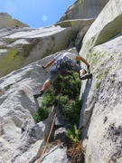 Rock Climbing Photo: The vegetated crack system on the right that was o...