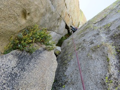 Rock Climbing Photo: Climbing the corner. Somewhere on Pitch 3 or 4 dep...