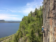 Rock Climbing Photo: Jon scouting bolt placements during his developmen...