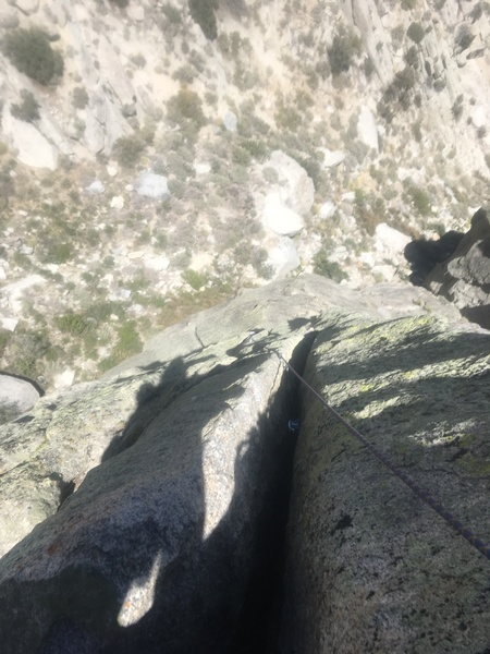 Rock Climbing Photo: Looking down from second pitch anchor