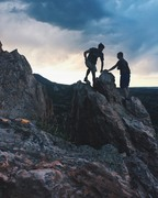 Rock Climbing Photo: Sunset silhouettes on the top of New Era.