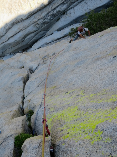 The somewhat exciting face traverse at the start of Pitch 1. This can be protected with offset cams, aliens, and nuts.