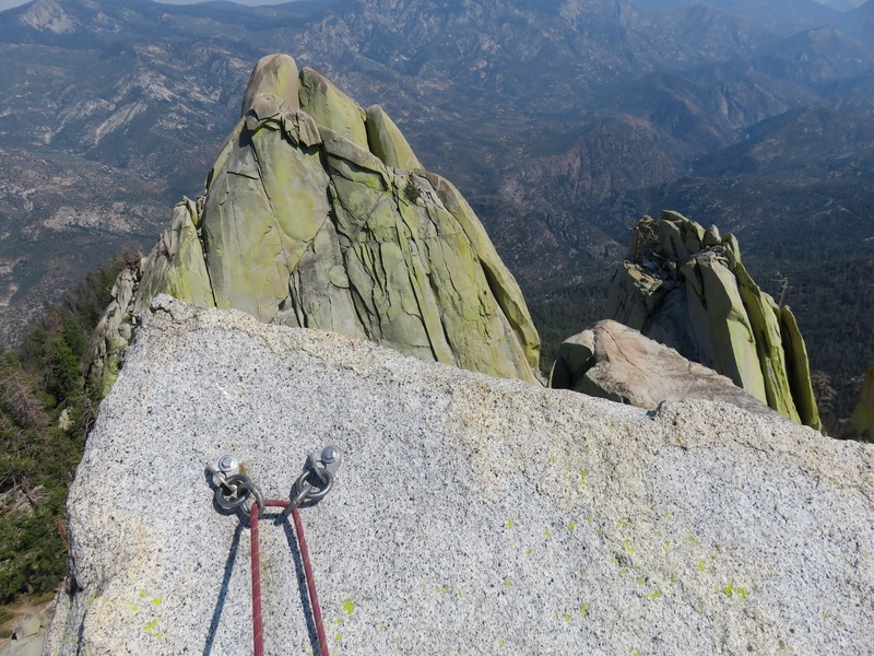 Rap bolts on top of summit spire.