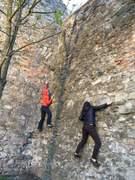 climbing on a castle wall in Bratislava