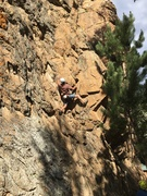 Rock Climbing Photo: Ian Fowler on the first bolted ascent. Ian is movi...