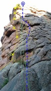 Rock Climbing Photo: Yellow line: Under the Knife, 5.11b.
