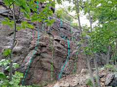 Rock Climbing Photo: Top Shelf high R side - routes c T. All Right the...