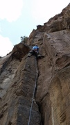 Rock Climbing Photo: Fish leads pitch 1 of Circle of Life