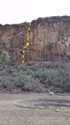 Rock Climbing Photo: Constructed circle visible with route in the backg...