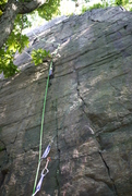 Rock Climbing Photo: Linus with gear.  Thin!  Kinda frightening onsight...