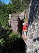 Rock Climbing Photo: Start of the crux above the little roof, no gear t...