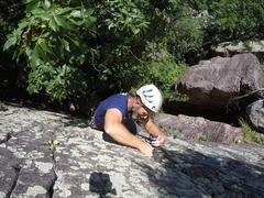 Rock Climbing Photo: Matt fiddling in gear