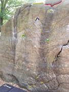 Rock Climbing Photo: Start on green holds, yellow holds are what I used...