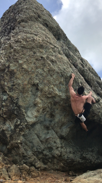 Rock Climbing Photo: Heel hook the obvious flat hold to gain the lip.