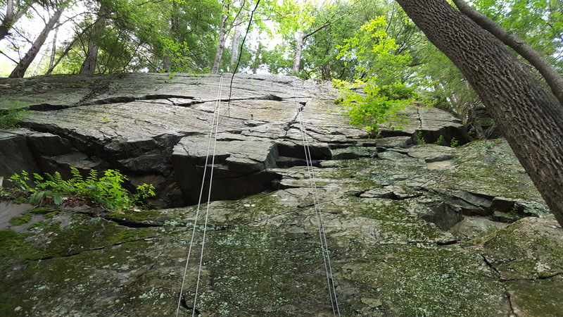 The whole route was cleaned today.  May need to change the name to clean crack!  The line basically goes up the rope on the right.