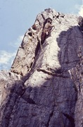 Rock Climbing Photo: KL near the top of the Posel-Wachtel route, 1974.