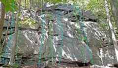 Rock Climbing Photo: The Shelves - lower Left 2. Rachel's Obsession...