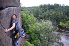 Rock Climbing Photo: John pushing through the last hard move on the Bul...