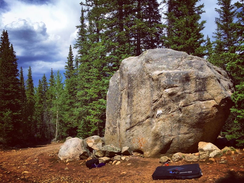 The route is on the right side of the boulder.