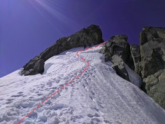 Rock Climbing Photo: Ascend the snow (possible moat) to get onto the ri...