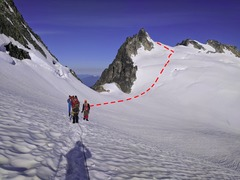 Rock Climbing Photo: On the McAllister Glacier, head to a point slightl...