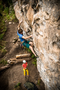 Rock Climbing Photo: Pulling the moves into the steeper terrain above t...