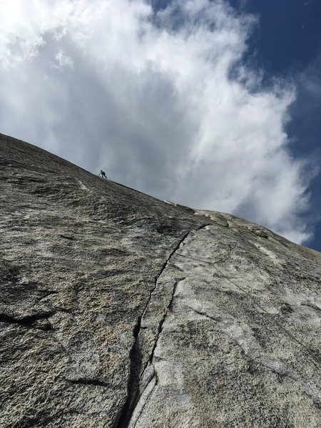 High on South Crack slabs, our pitch 2.