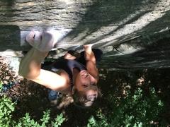 Rock Climbing Photo: Amanda crimping hard on Priapism