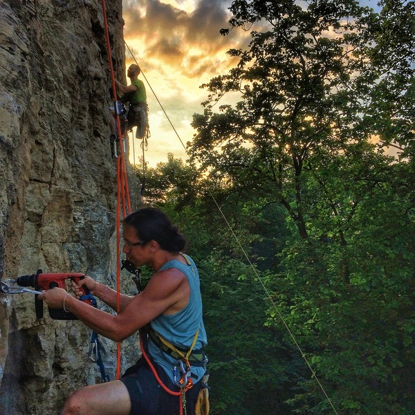 Rock Climbing Photo: Summer 2017 - a slow effort to replace old bolts i...