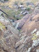 Rock Climbing Photo: Looking down the dihedral section to the big rest ...