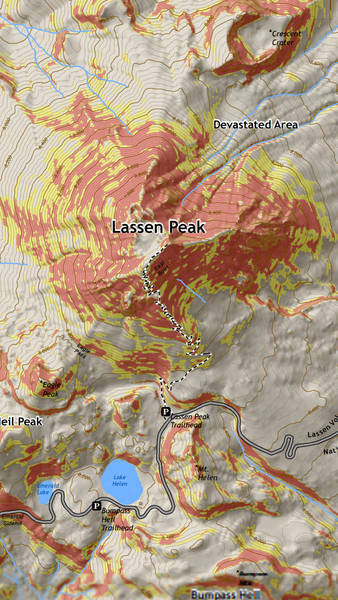 Slope angle avy risk map of Lassen.