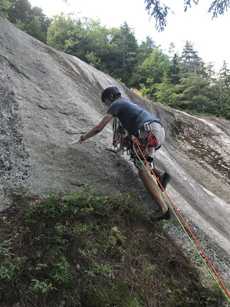 Rock Climbing Photo: Tom (16 yrs old) on lead up the Platinum Slab