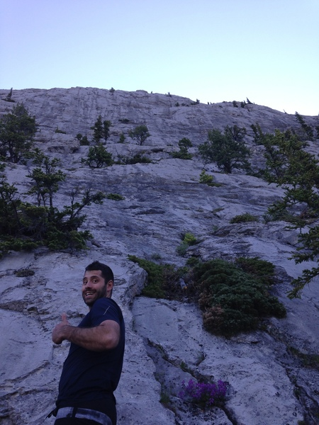 Nate at the base of the route looking glorious