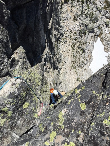 Dean moving out from under small roof on Pitch 3 heading for the finish
