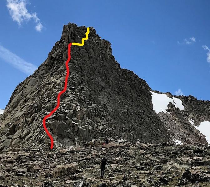Rock Climbing Photo: North ridge of Comanche Fin. Red line is the 4C sc...