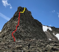 North ridge of Commanche Fin-Emmaline Lake-Poudre Canyon-Fort Collins. The red-line is the 4th Class scramble, the yellow line the low 5th Class route to the summit block.