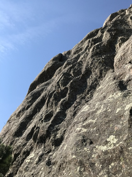 Rock Climbing Photo: The right angling seam of Floridays, 5.8+