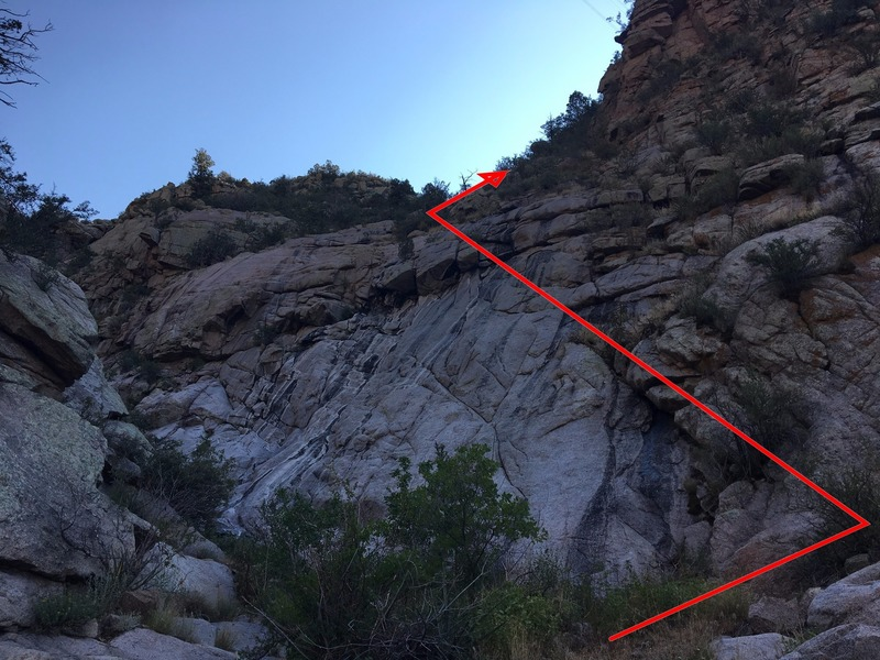 Rock Climbing Photo: Waterfall to turn at in west canyon approach