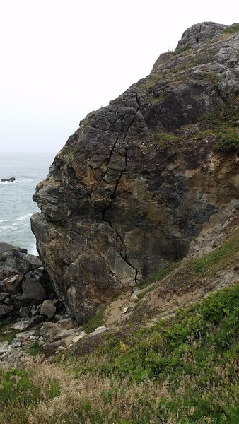 View of Wedding Rock as you are walking down the climber's trail off the main visitor's trail