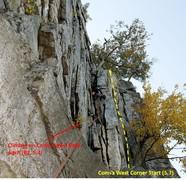 Rock Climbing Photo: Conn's West Corner Start on the right.  Photo cr...