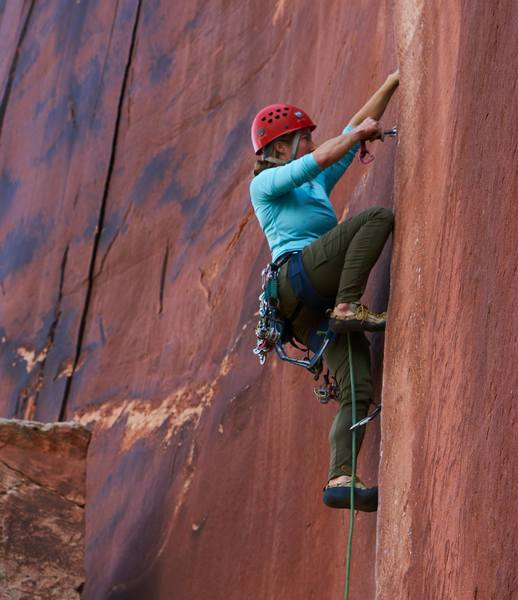 A. Gibson on Coyne Crack in July - yes, you can climb at Supercrack Buttress in the morning time in the summer.