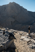 A friend in front of Williamson before descending into the boulder field between Williamson and Tyndall.