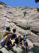 Rock Climbing Photo: The Mexicanist in blue. Car Stud in yellow. Slop...
