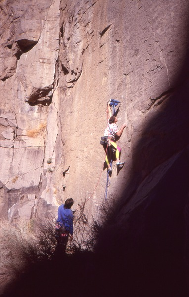 Caunt drilling on the first ascent