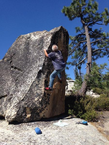 Mike Arechiga on a super fun boulder problem, Educated Donkey/aka Smart Ass V2 Jackass Creek Southern Yosemite,Ca.