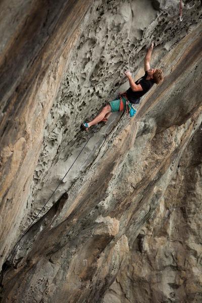 Matt C. reaching far for good holds