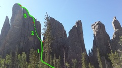 Route topo with pitch break down, note P1 is only a 5.0 scramble up the 3/4 divide between Spires 3 and 4. Approximate location of bolted anchors noted in red. This picture is taken from the Cathedral Spires main trail from the north side (back side) facing south. Note Spire 1 on the far right.
