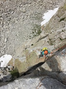 Rock Climbing Photo: Contemplating the finger crack to hand traverse. B...