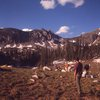 Perry-Mansfield climbing students at Mica Basin, 1968. The Sawtooth Range is in the background.